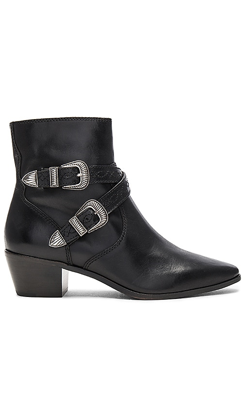 Frye Ellen Buckle Short Bootie in Black
