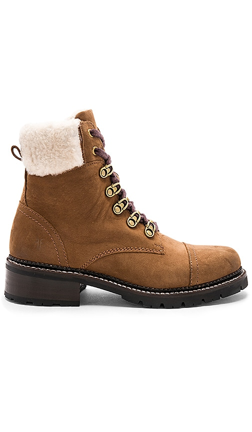 Frye Samantha Shearling Hiker Boot in Brown