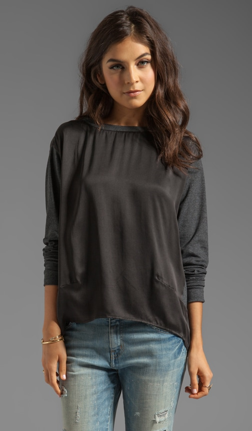 Storm Long Sleeve Contrast Silk Top