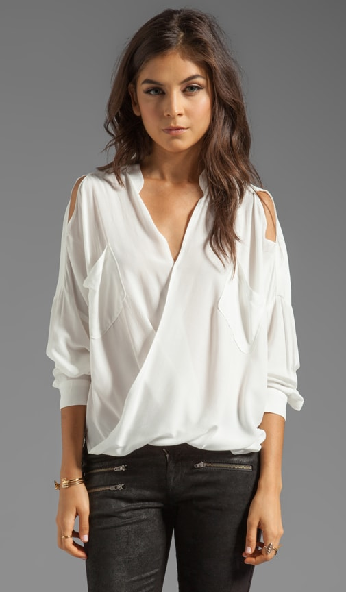 Linear Cold Shoulder Fold Front Blouse