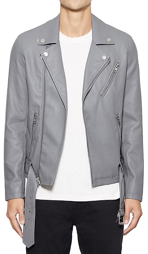 Five Four Grainger Faux Leather Jacket in Gray