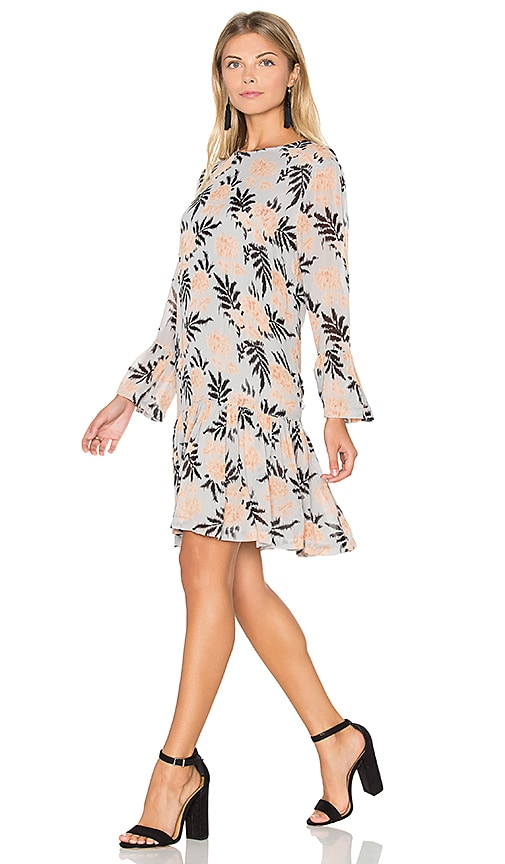 Ganni Ruffle Shift Dress in Cork Flowers