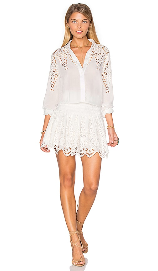 Ganni Button Up Lace Dress in White