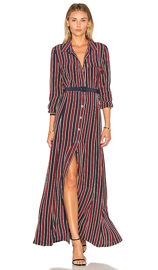Ganni Donaldson Silk Maxi Dress in Burgundy