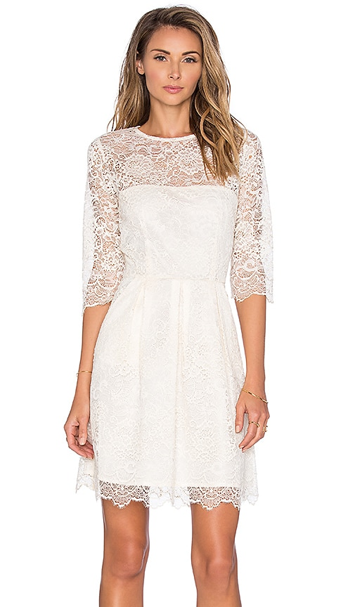 Ganni 3/4 Sleeve Lace Mini Dress in Ivory