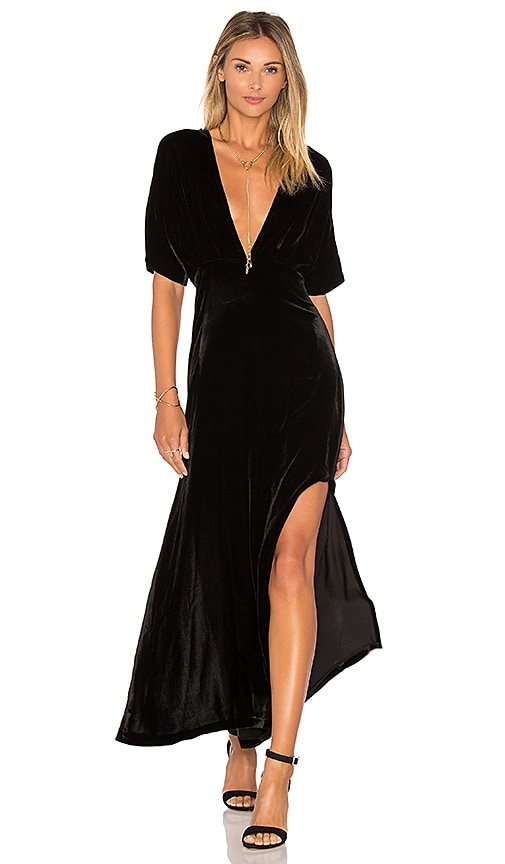 Ganni Hayden Velvet Maxi Dress in Black