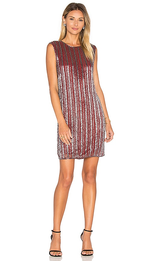 Ganni Humphrey Beads Shift Dress in Burgundy
