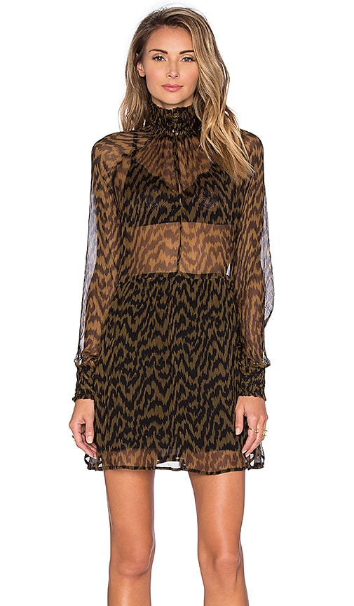 Ganni Long Sleeve Sheer Top Mini Dress in Black