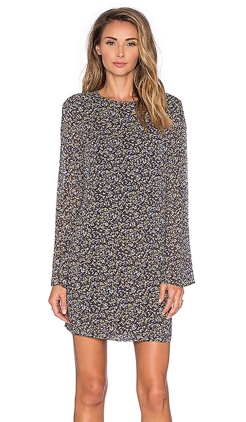 Ganni Floral Long Sleeve Shift Dress in Meadow Flowers