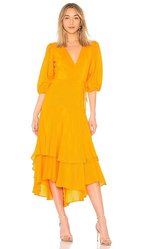 3ff3a330b9 Ganni Wilkie Seersucker Dress in Turmeric Orange