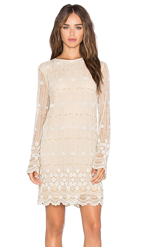 Ganni Long Sleeve Embellished Shift Dress in Cream