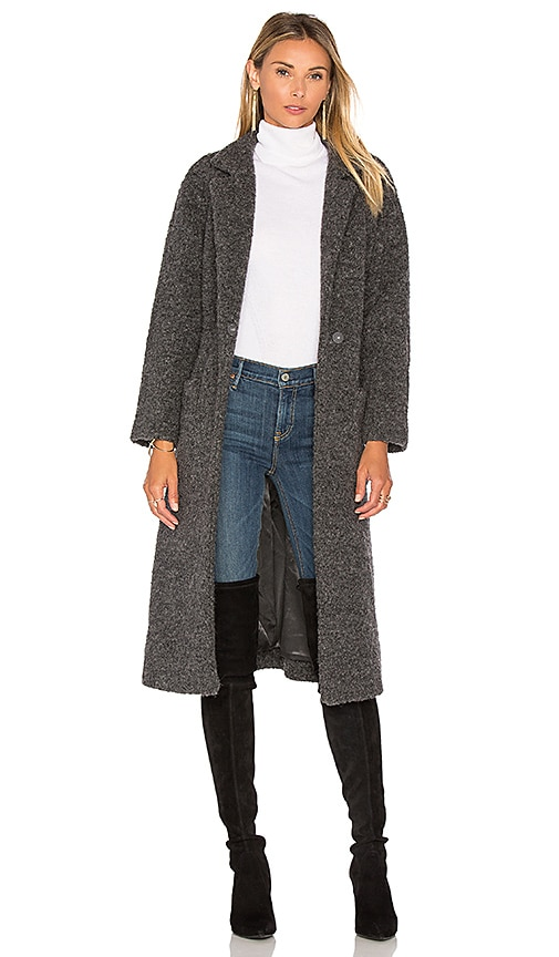 Ganni Fenn Wrap Coat in Charcoal