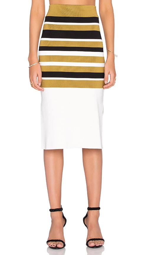 Ganni Midi Skirt in Cream Stripes