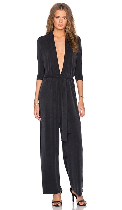 83f6578482ba Ganni 3 4 Sleeve Deep V Jumpsuit in Black