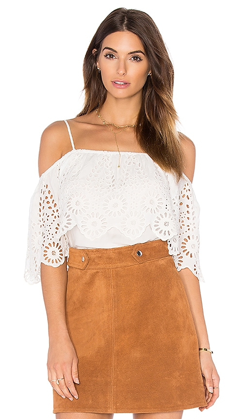 Ganni Lace Cold Shoulder Top in White