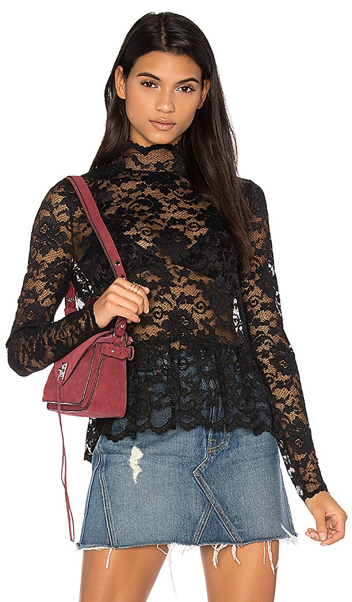 Ganni Flynn Lace Top in Black