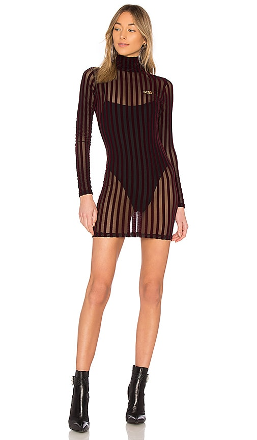 GCDS Velvet Stripe Dress in Burgundy
