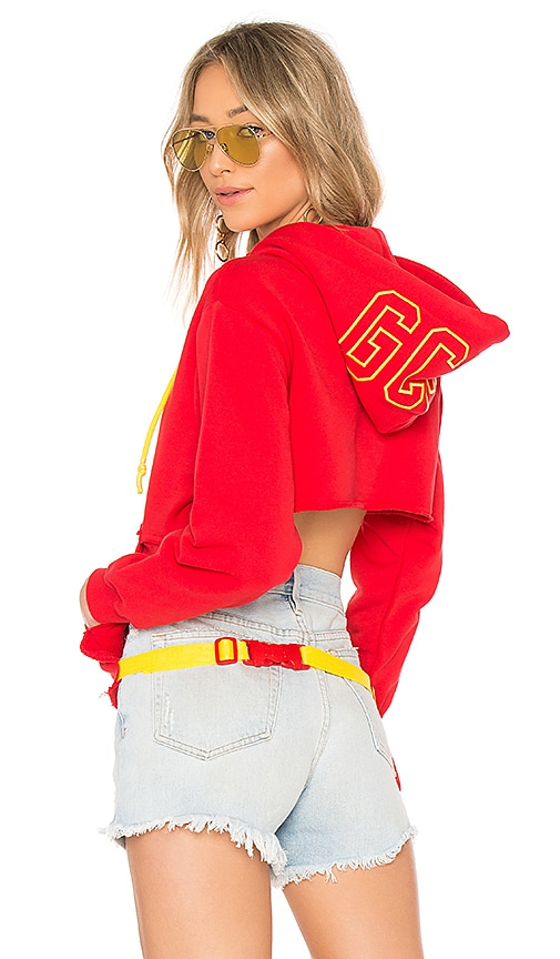 GCDS Crew Crop Hoodie in Red