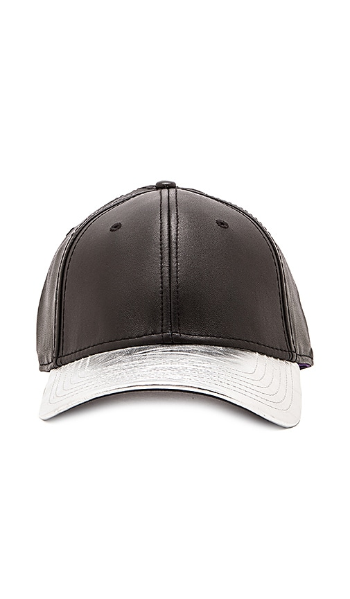 Gents Co. Luxe Ryan Leather 2 Tone Hat in Black Silver