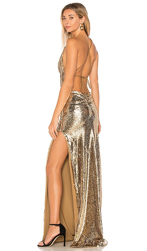 GEMELI POWER Fishscale Dupey Gown in Metallic Gold