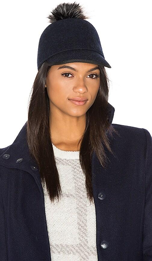 2adba9ec843 Genie by Eugenia Kim Alex Hat with Faux Fur Pompom in Navy
