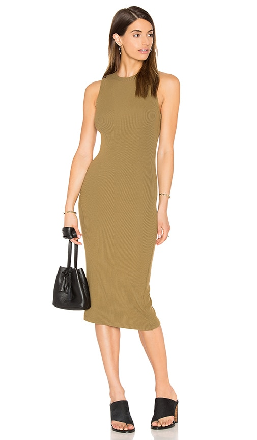 GETTINGBACKTOSQUAREONE The Sleeveless Sweater Dress in Army