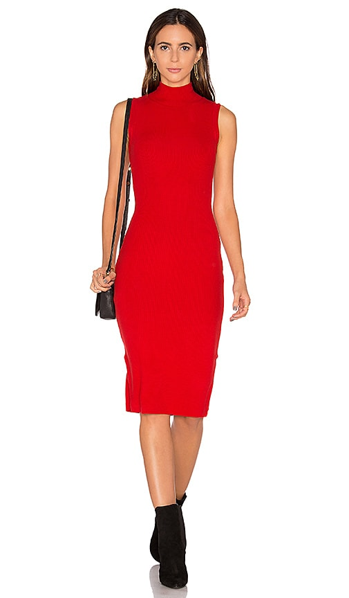 GETTINGBACKTOSQUAREONE The Sleeveless Turtleneck Sweater Dress in Red