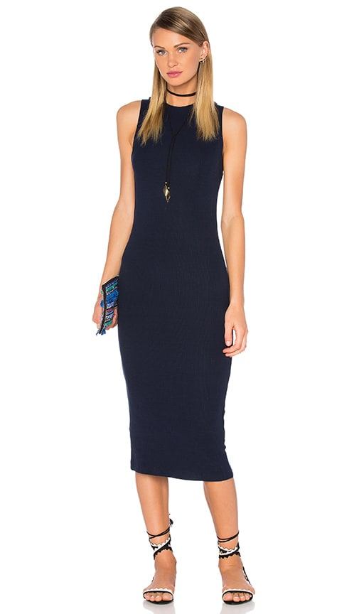 GETTINGBACKTOSQUAREONE The Sleeveless Sweater Dress in Navy