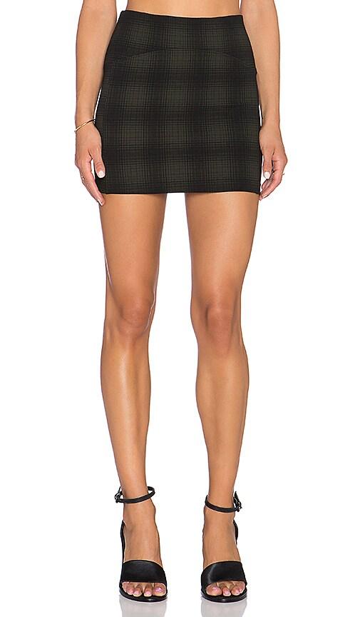 GETTINGBACKTOSQUAREONE Mini Skirt in Olive & Black Plaid