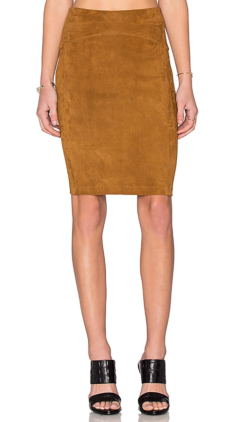 gettingbacktosquareone suede above the knee skirt in