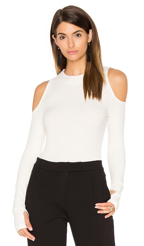 GETTINGBACKTOSQUAREONE The Cold Shoulder Top in Ivory