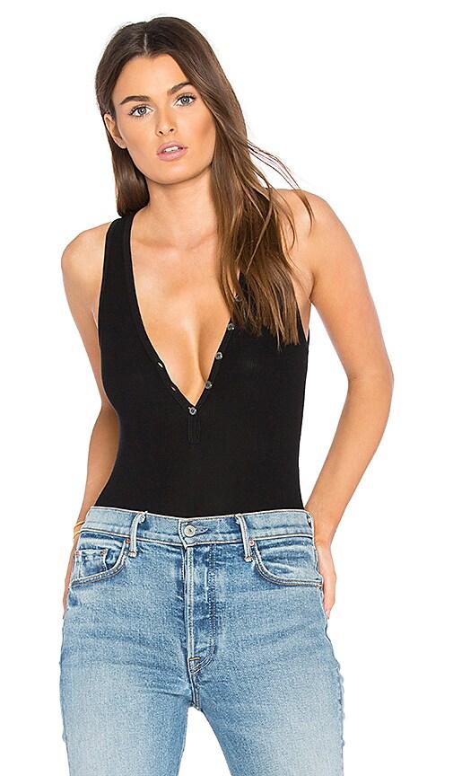 GETTINGBACKTOSQUAREONE Button Front Bodysuit in Black