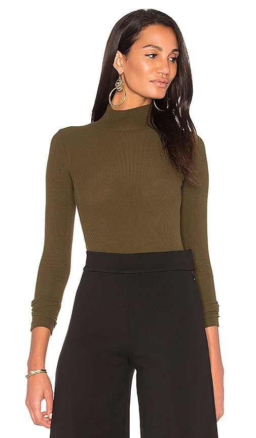 GETTINGBACKTOSQUAREONE The Turtleneck Bodysuit in Olive