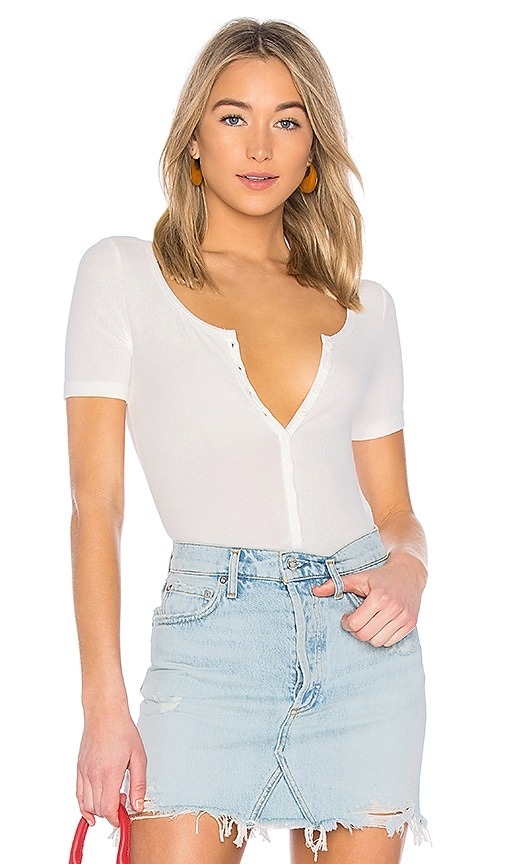 GETTINGBACKTOSQUAREONE Henley Bodysuit in Ivory