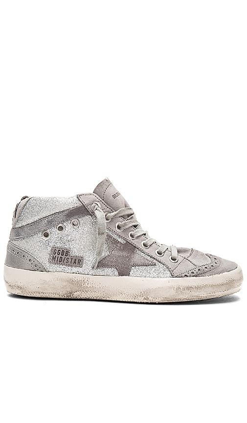 Golden Goose Mid Star Sneaker in Metallic Silver