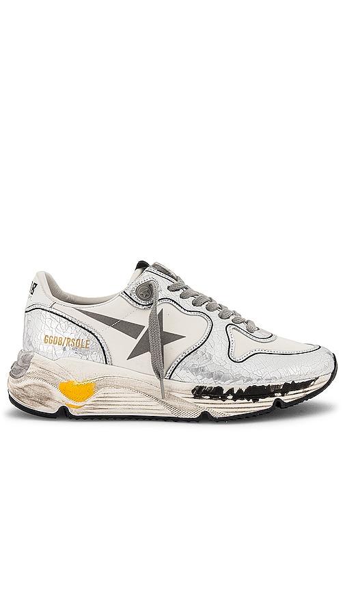 Golden Goose Running Sneaker in Metallic Silver.