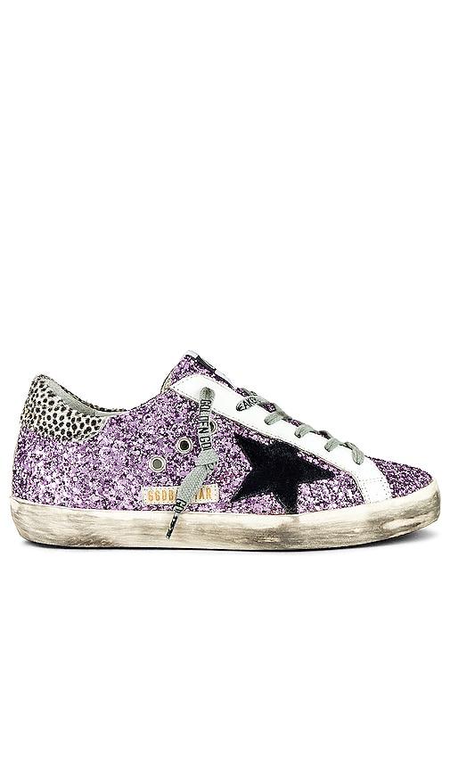 Golden Goose Superstar Glitter Sneaker in Lavender.