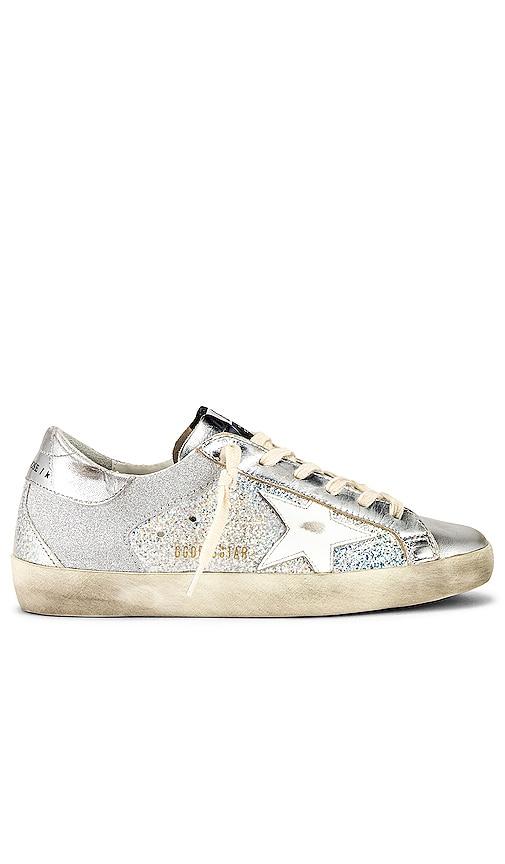 Golden Goose Superstar Sneaker in Metallic Silver.