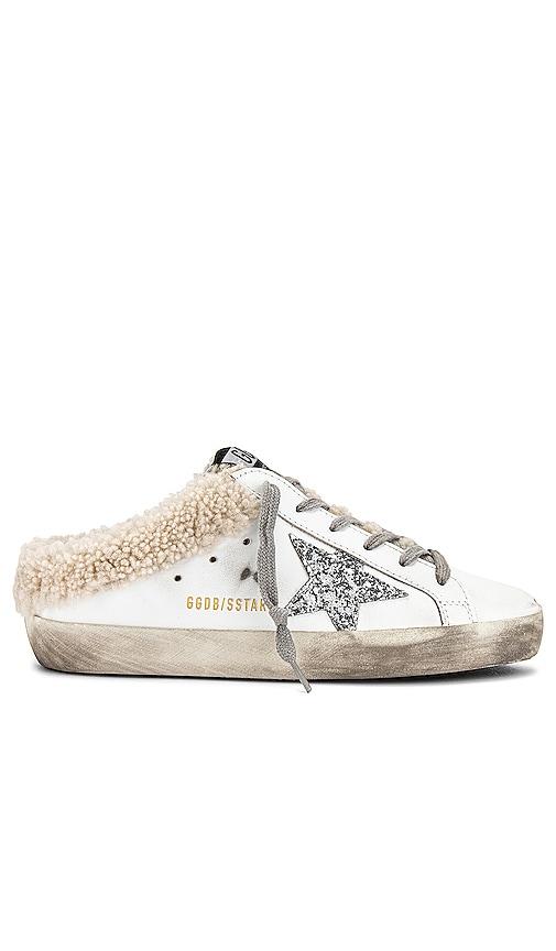 Golden Goose Superstar Sabot Shearling Sneaker in White.