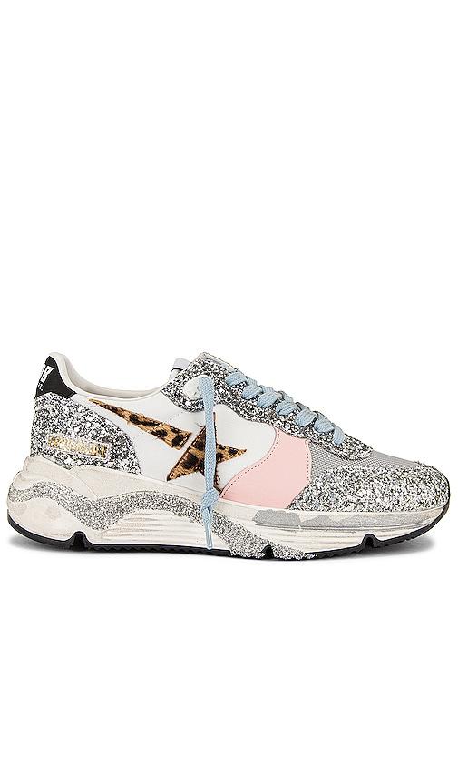 Golden Goose Running Sole Sneaker in Metallic Silver.