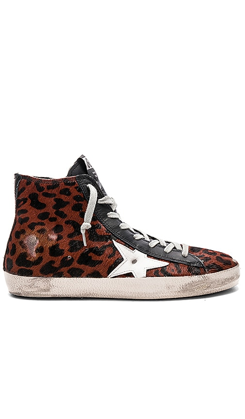 Golden Goose Francy Cow Fur Sneaker in Brown
