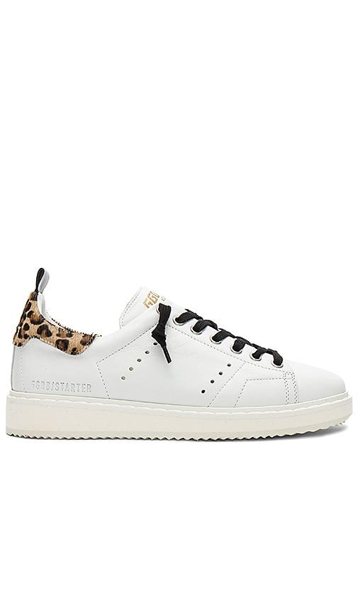 6aa6bcd2db Golden Goose Starter Sneaker in White Leather & Leopard Pony | REVOLVE