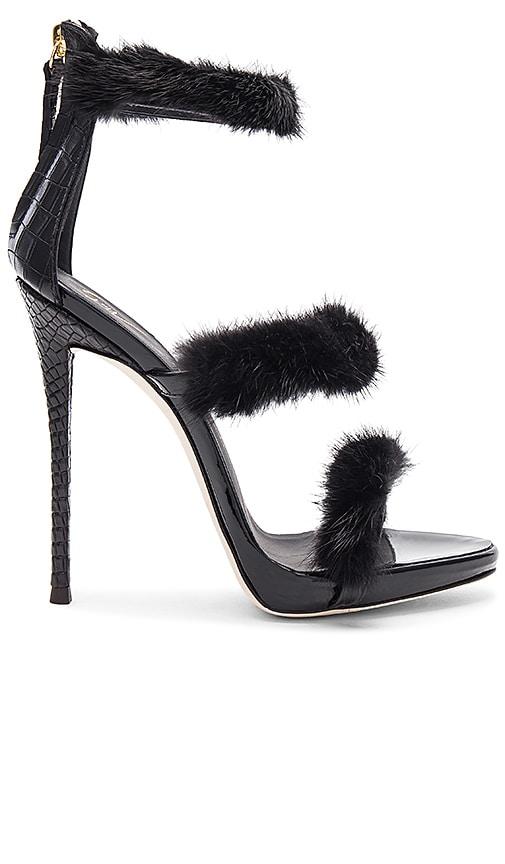 Giuseppe Zanotti Coline Mink Fur Heel in Black