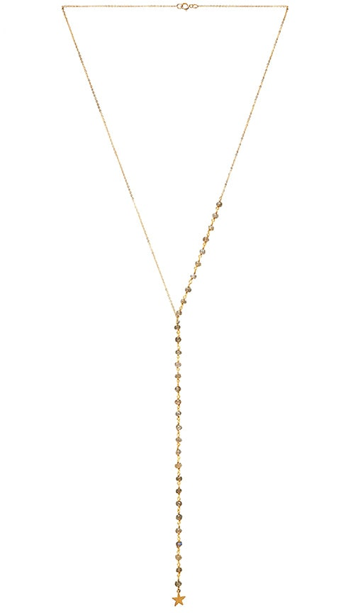 EIGHT by GJENMI JEWELRY Lariat Necklace in Metallic Gold