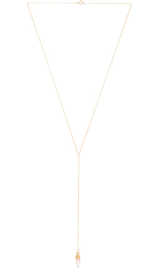 EIGHT by GJENMI JEWELRY Pink Quartz Lariat Necklace in Metallic Gold