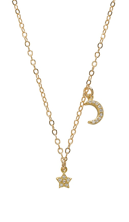 EIGHT by GJENMI JEWELRY Moon Star Chain Necklace in Metallic Gold