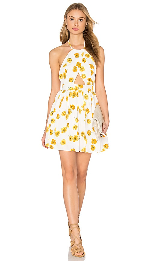 GLAMOROUS Cut Out Dress in White Yellow Poppy