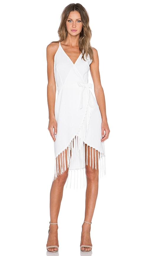 GLAMOROUS Fringe Wrap Dress in White