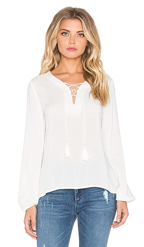 GLAMOROUS Lace Up Long Sleeve Top in Cream