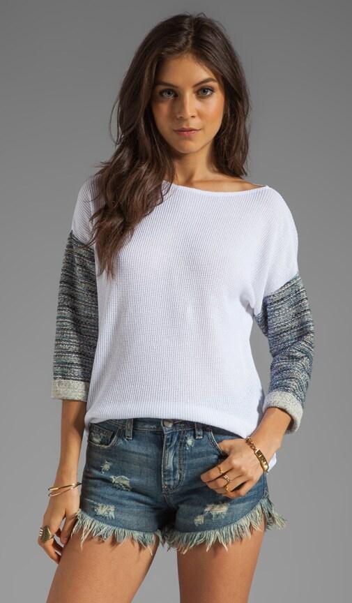 Emily White Jacquard Rib Combo Sweater